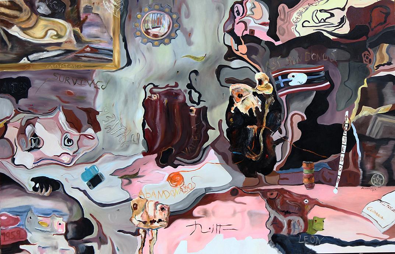 El álbum de los sones olvidados. 2019. óleo sobre lienzo. 130 x 200 cm.