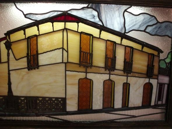La Plazuela en Silencio.Técnica Vidrio emplomado (2014). 90 x 60 cm