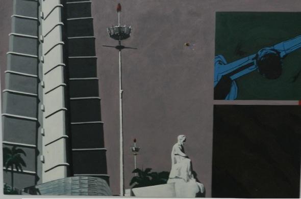 Hab, de Yanier Vázquez, primer premi.Pintura industrial. 150 cm X 100