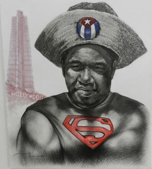Super-Man-Be, de Yanel Hernández. Tercer Premio. Técnica mixta lienzo. 120 cm x 100