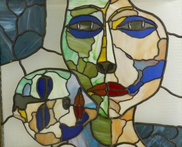 De la serie La edad de la ternura.Vidrio emplomado. Dimnesión 70 x 60 cm
