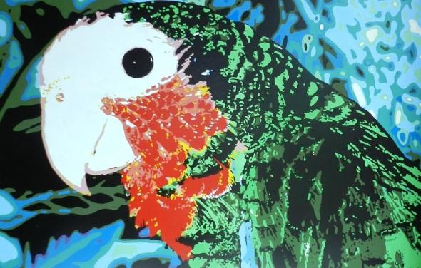 Retrato de la Cotorra. Autora Ileana Sánchez.Dimensiones 192 x 126 cm