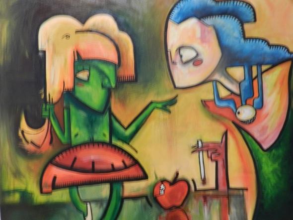 Las Tresgracias. Obra de Kevim Lima.Dimensión 140 x 150 cm