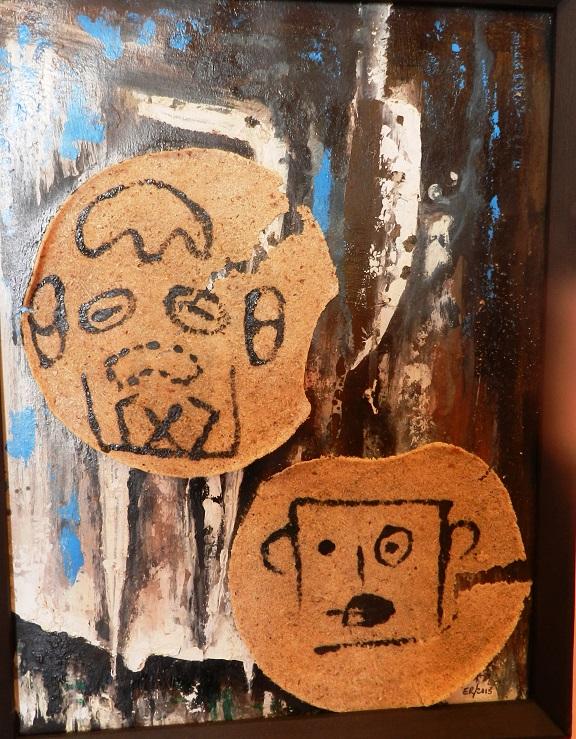 Asustados x peligro. Mixta Cartón y Casabe. 58x31 cm. 2014