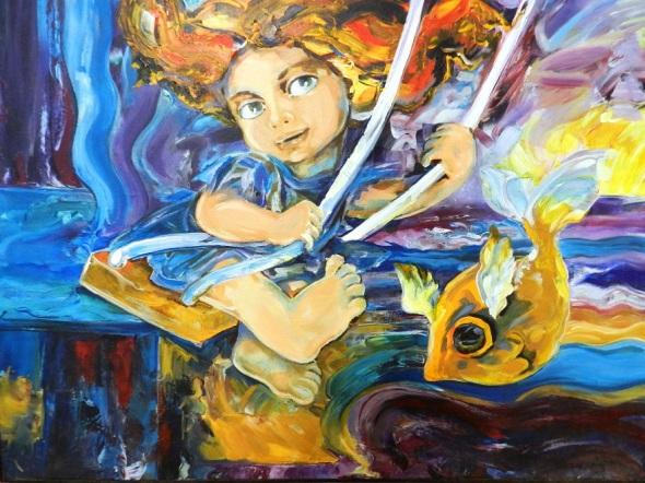 Obra Juegos y Sueños, autora Alejandrina Silvera. D. 40x32 cm