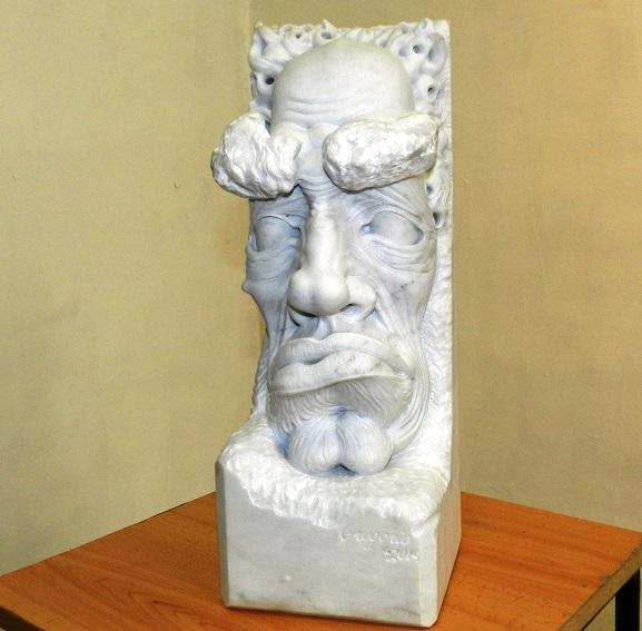 Obra sin título. Exposición de escultura en mármol Las Caricaturas de la Caricatura, del artista cubano Gregorio Pérez. Dimensión 60 cm x 4x 4pulgadas.,