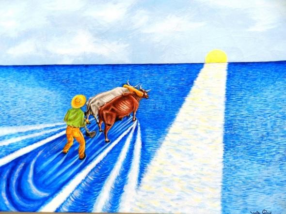 Título Arando en el mar. Acrílico-lienzo 66 x 102 cm