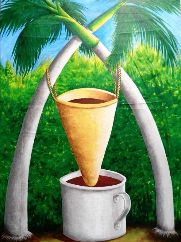 Título Colando café. Acrílico-lienzo 66 x 102 cm