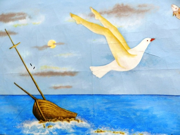Título Gaviota. Acrílico-lienzo 52 x 71 cm