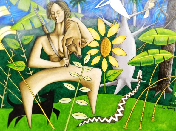Título La caza. Acrílico-lienzo 66 x 102 cm