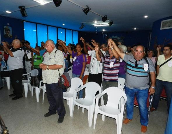 Los delegados a la Primera Conferencia Municipal del Sindicato Nacional de los Trabajadores del Comercio, la  Gastronomía y los Servicios en Camagüey