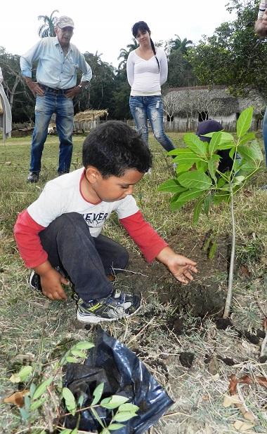 Hijo de Argeny Brito Pérez y Yubisleidy López Guerra planta un roble en honor a Ernesto Ignacio hijo de Amalia e Ignacio