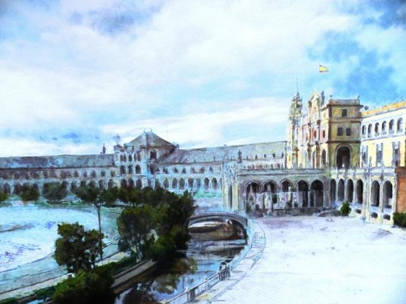Obras alegóricas a Sevilla, España, del artista de la plástica Lorenzo Linares ambientan el hostal.