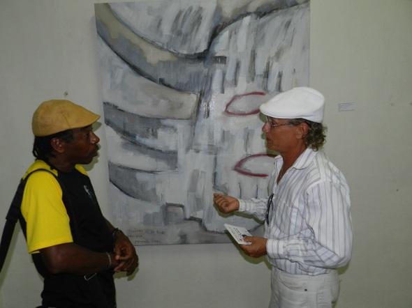 Rodrich Dixon y Armando Pérez Padron en la exposición colectiva