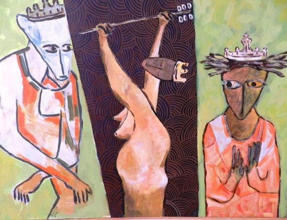 Titulo Anancy en el carnaval de Verdina. Autor Rodrick Dixon Gently. Técnica acrilico sobre lienzo. Dimensión 52 x 42 cm.
