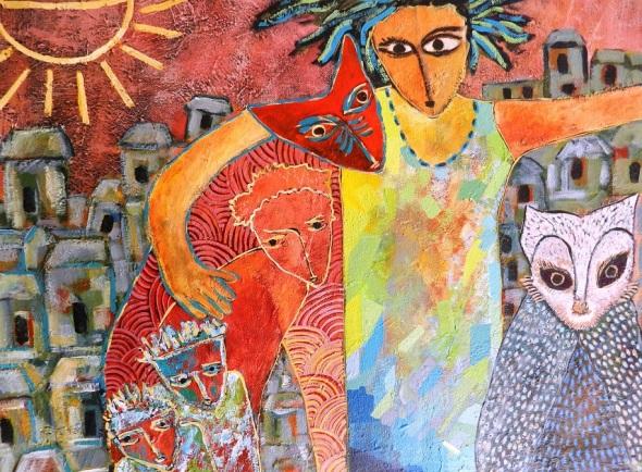 Titulo Anancy se disfraza con sus amigos. Autor Rodrick Dixon Gently. Técnica acrilico sobre lienzo. Dimensión 64 x 63 cm.