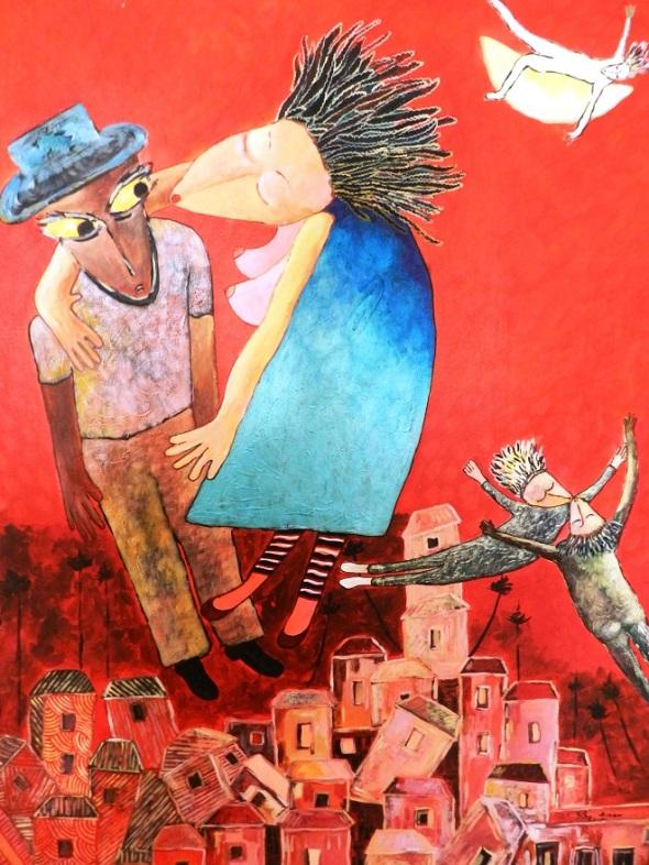 Titulo Un beso de carnaval. Autor Rodrick Dixon Gently. Técnica acrilico sobre lienzo.