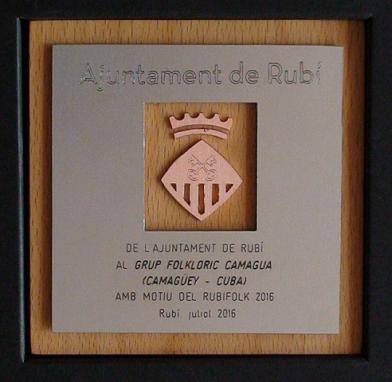 Placa del Reconocimiento del ayuntamiento de Rubí