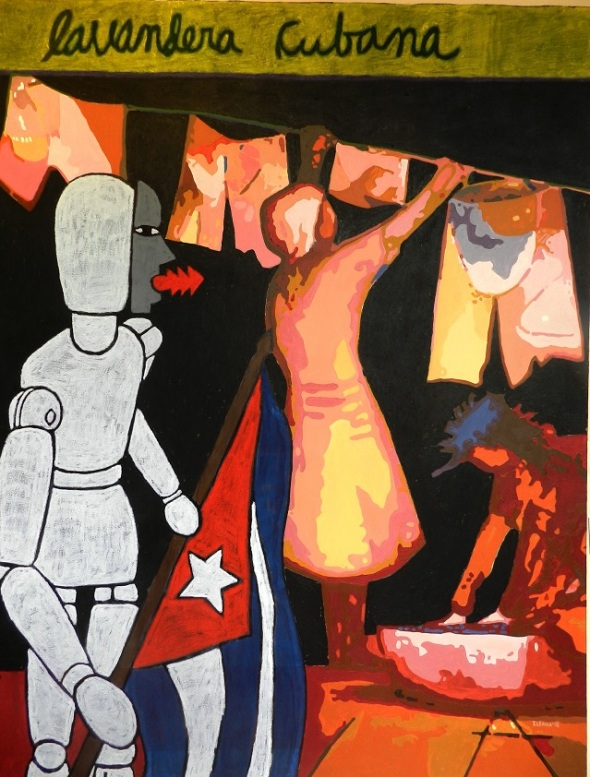 Autores Joel Jover e Ileana Sánchez Titulo Lavandera cubana Técnica mixta s tela Dim 130 x 162 cm Año 2016