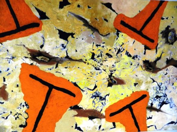Autor Elpidio Huerta. Sin Titulo. Collage óleo acrilico sobre tela.