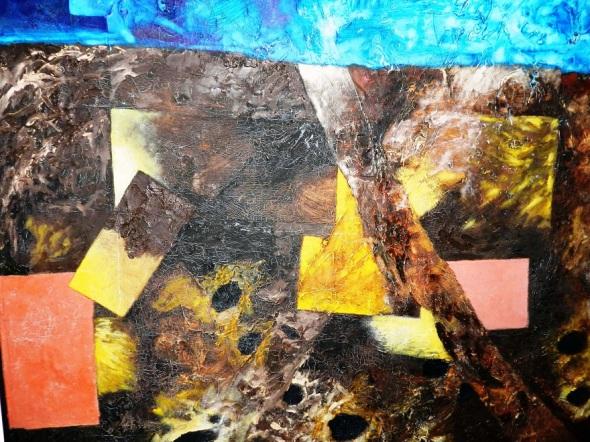 Autor Elpidio Huerta. Titulo Paisaje posible IV. Collage óleo acrilico sobre tela. Año 2016