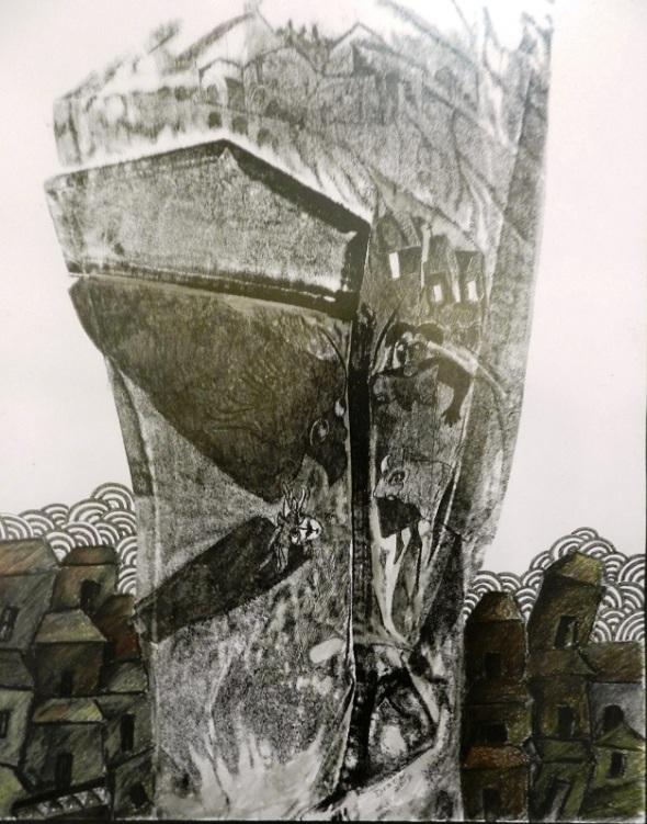 Autor Rodrick Dixón. Titulo Los presos pedidos de los Doops. Dimensión 44 x 35 cm. Técnica Mixta. Año 2017.