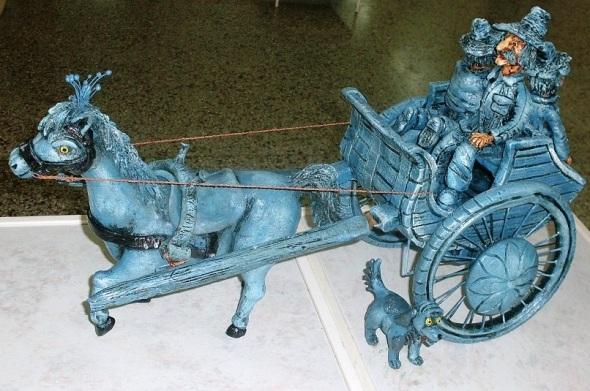 El cochero azul en cerámica