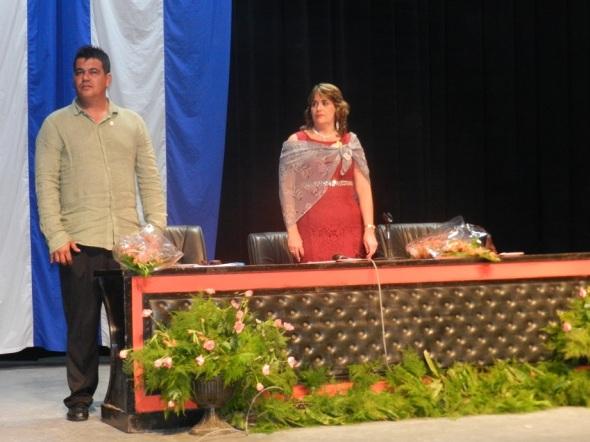 Lisette Bouza y Yorqui Ríos, como presidenta y vicepresidente