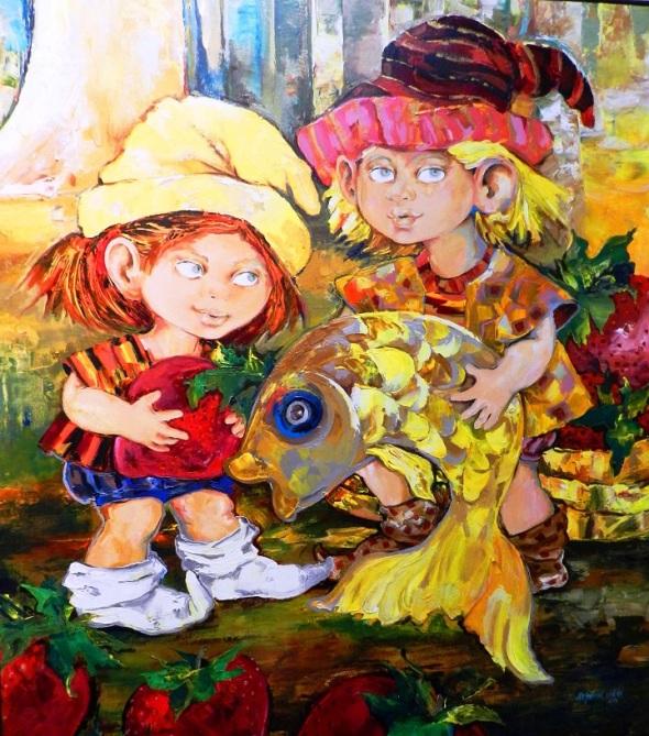 Autora Alejandrina Silvera Guerra . Titulo El tesoro de los gromos. Dimensiones 52 x 48 cm. Técnica acrílico y lienzo. Año 2006.