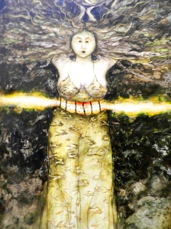 Autora Martha Jiménez Pérez. Titulo Botella. Dimensiones 136 x 86 cm. Técnica Acrilico y lienzo
