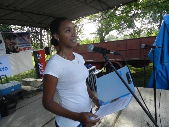 La joven dirigente sindical reiteró el apoyo de Cuba a la Revolución Bolivariana