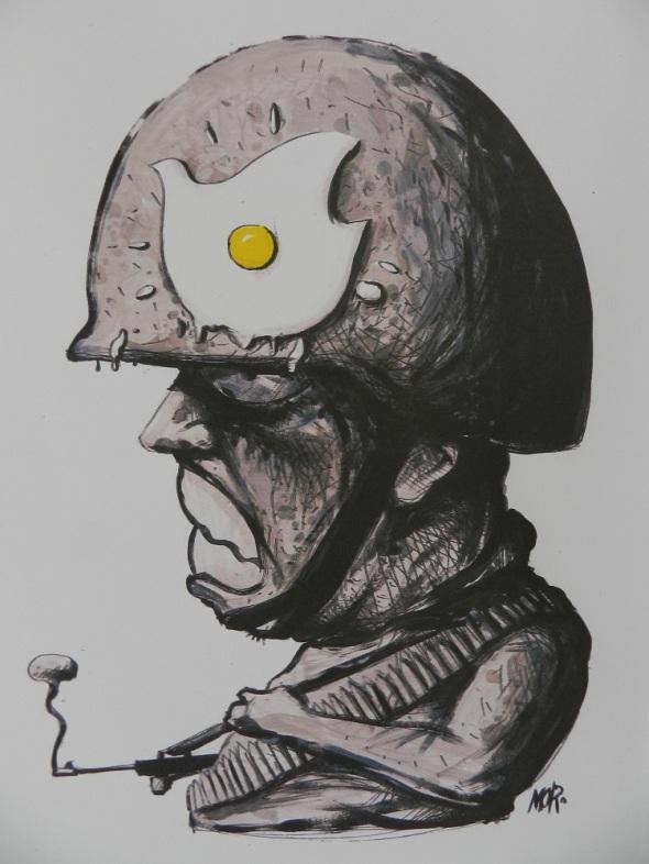 Premio de caricatura La paz resiste Dimensiones 21 x 29,7. Ciego de Ávila. Técnica Impresión digital. Michel Moro Gómez