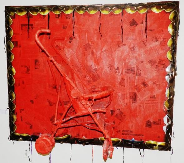 Autor Ileana Sánchez Titulo El cochecito 2012. Tecnica acrilico y tela. Dimensiones 130 x 162 cm