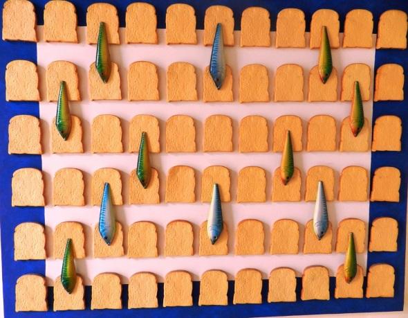 Autor Ileana Sánchez Titulo Los panes y los peces 2014. Tecnica acrilico y tela. Dimensiones 130 x 162 cm
