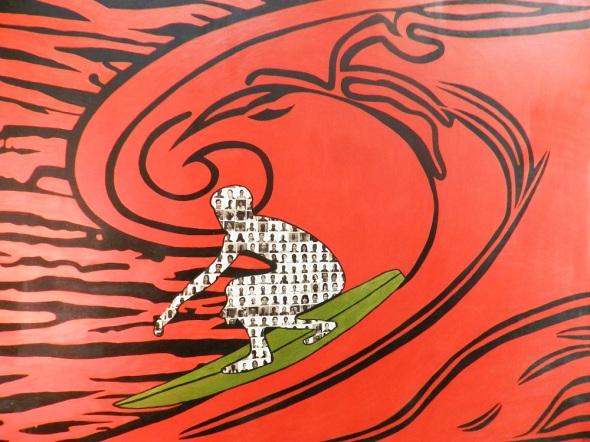Autor Joel Jover Titulo El gran surfista 2013. Tecnica miixta y tela. Dimensiones 153 x 200 cm
