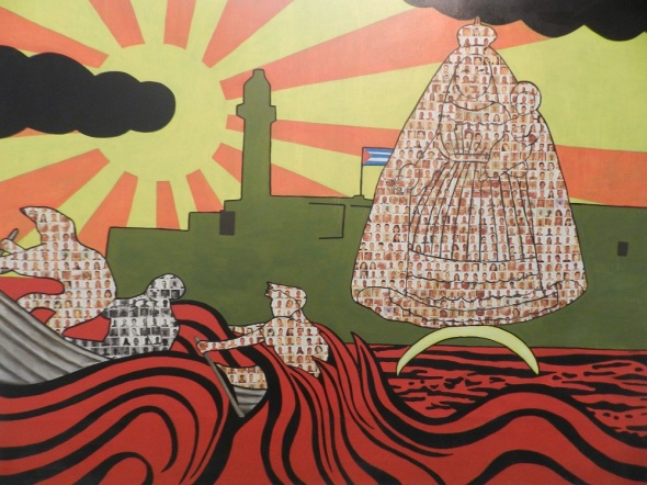 Autor Joel Jover Titulo La partida de los tres Juanes 2013. Tecnica miixta y tela. Dimensiones 153 x 200 cm