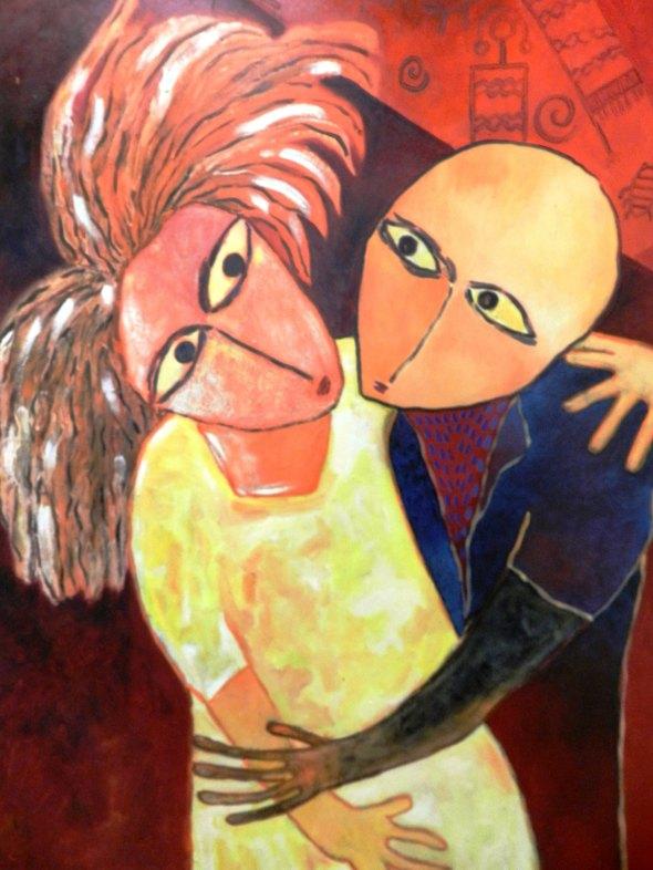 Titulo El amor etermo entre Timothy y Micellin Autor Rodrick Dixon. Técnica Oleo lienzo. Dimension 40 x 50 cm . Año 2018