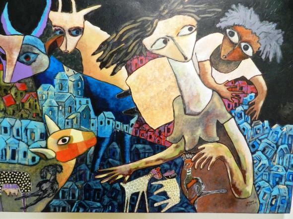 Titulo El encuentro con los Ticolochis en el barrio. Autor Rodrick Dixon. Técnica Acrilico lienzo. Dimension 92 x 60 cm . Año 2018.