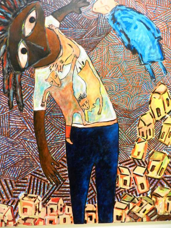Titulo La aparición del Doopy azul un tarde de verano. Autor Rodrick Dixon. Técnica Acrilico lienzo. Dimension 60 x 75 cm . Año 2018.