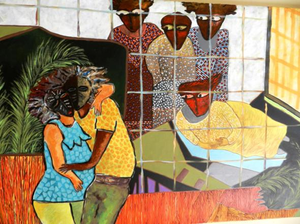 Titulo Los enmascarados del baile. Autor Rodrick Dixon. Técnica Acrilico lienzo. Dimension 92 x 60 cm . Año 2018.