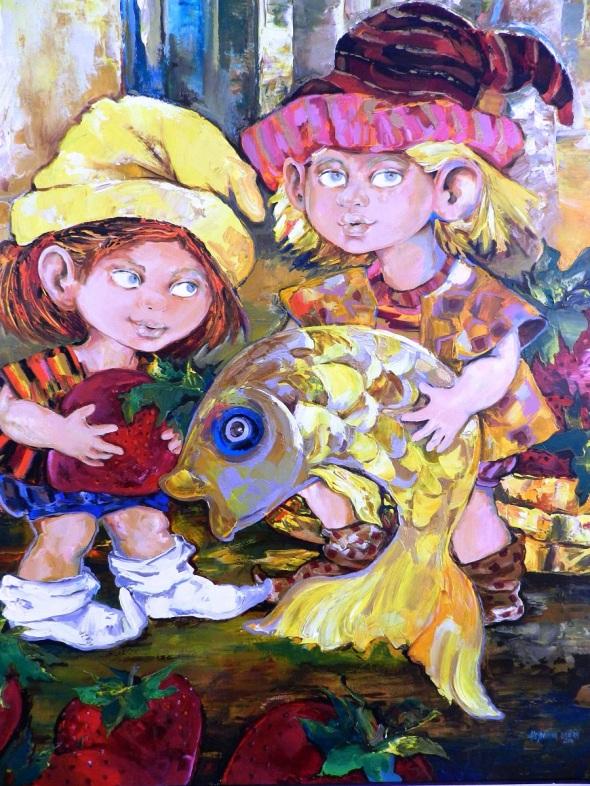Autor Alejandrina Silvera Guerra. Titulo  Juegos y sueños. Tecnica Acrilico lienzo