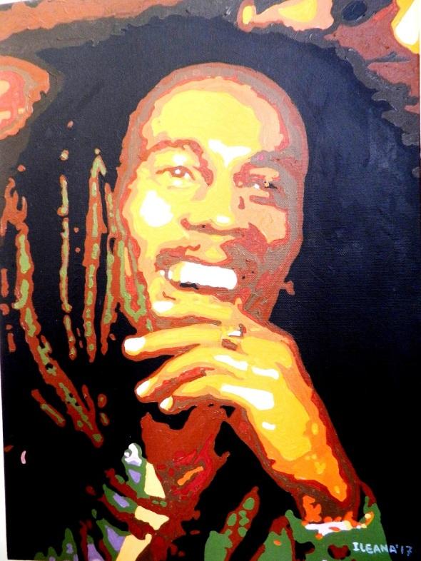 Autor Ileana Sánchez Hing. Bob Marley. Tecnica mixta lienzo. 47 x 34 cm. año 2017.