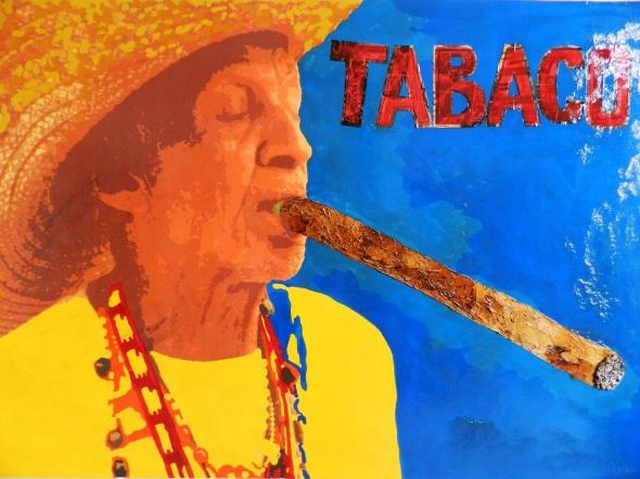 Autor Ileana Sánchez Hing. Fumador de Tabaco. Tecnica mixta lienzo. 124 x 190 cm. año 2017.