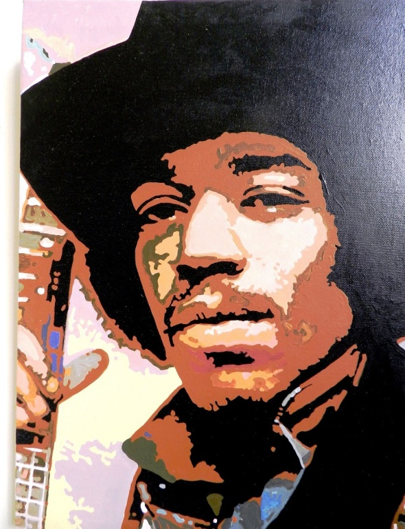 Autor Ileana Sánchez Hing. Retrato de Jimi Hendrix III. Tecnica acrilico lienzo. 45 x 35 cm. año 2015.