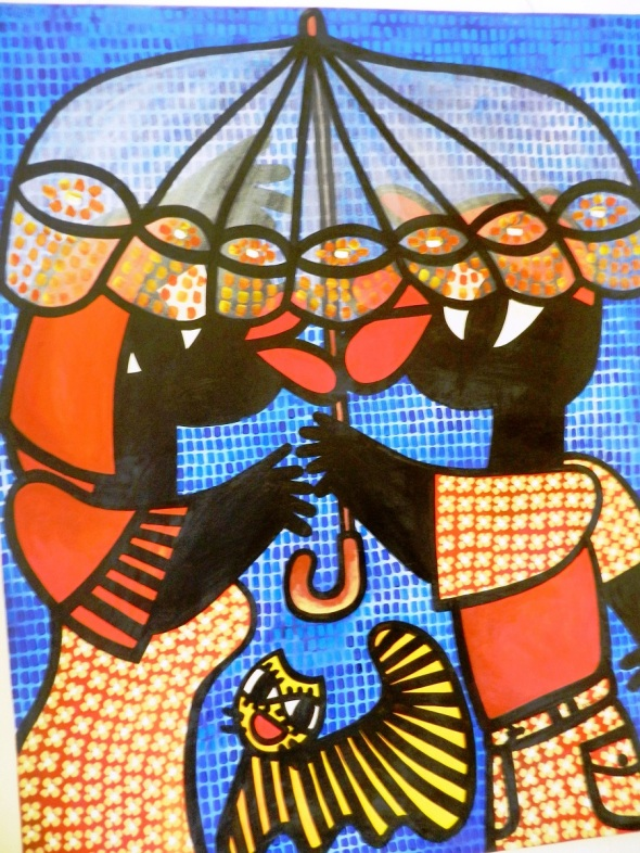 Autor Ileana Sánchez Hing.Titulo Novios bajo la sombrilla Tecnica acrilico lienzo. 130 x 152 cm. año 2006.