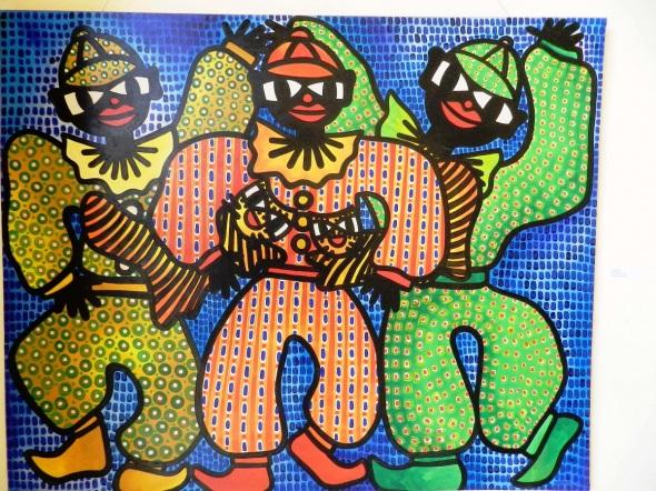 Autor Ileana Sánchez Hing.Titulo Payasos Tecnica acrilico lienzo. 130 x 162 cm. año 2006.
