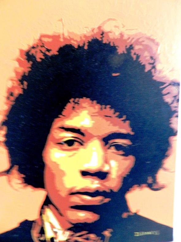 Autor Ileana Sánchez Hing.Titulo Retrato de Jimi Hendrix II Tecnica acrilico lienzo. 45 x 35 cm. año 2015.