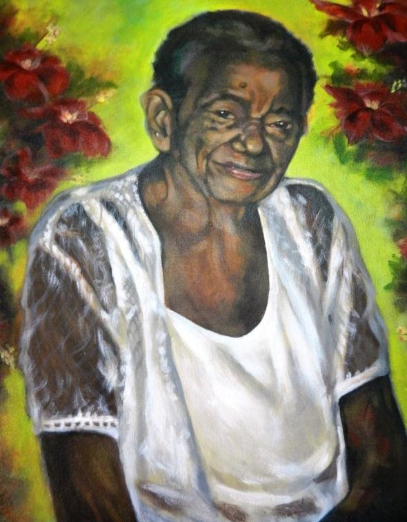 Retrato a mi madre oleo