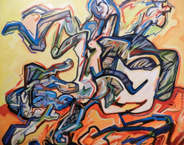 Autor René de la Torre Aguilar. Titulo La despedida. Técnica Óleo y lienzo. Dimensiones 88 x 100 cm. Año 2016
