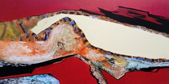Autora Alejandrina Silvera Guerra. Titulo En la tierra, Oro. Técnica Acrílico y lienzo. Dimensiones 152 x 76 cm. Año 2018